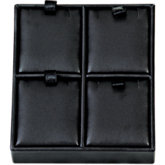 Black Leatherette 4-Pendant Tray Display