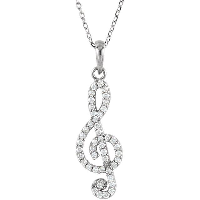 14K White 1/4 CTW Petite Treble Clef Diamond 16