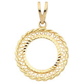 Tab Back Filigree Frame Pendant for U.S. $5.00 Coin