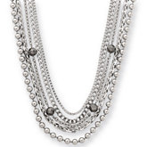 Amalfi™ Stainless Steel Multiple Chain Necklace with Hematite