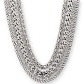 Amalfi™ Stainless Steel Multiple Chain Necklace with Toggle Clasp