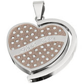 Amalfi™ Stainless Steel Heart Pendant with CZ's
