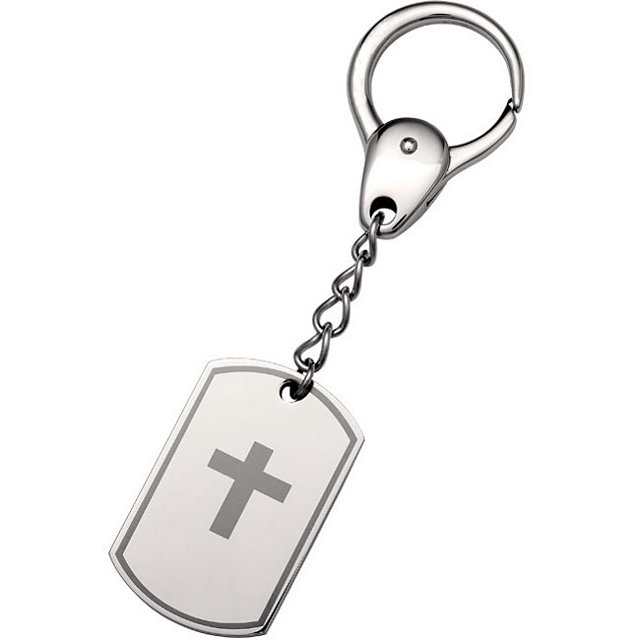 Stainless Steel Black Laser Cross Dog Tag Keyring