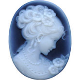Oval Genuine Black Agate Victorian Lady (C) Cameo