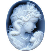 Oval Genuine Black Agate Woman & Child Cameo