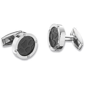 Black Immerse Plated Cuff Links with CZ Accents