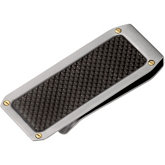 Stainless Steel & 14KT Yellow Money Clip with Carbon Fiber