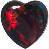 Lab Created Opal - Heart Shape Cab Gilson; Black