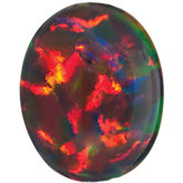 Oval Lab Created Black Opal