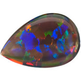 Lab Created Opal - Pear Shape Cab Gilson; Black