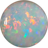 Round Genuine White Opal