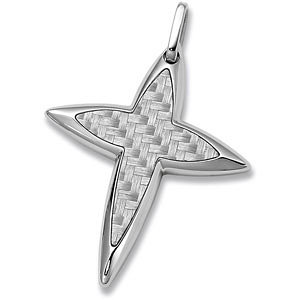 Stainless Steel Star Cross Pendant with Carbon Fiber