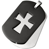 Stainless Steel Double Dog Tag Cross Pendant