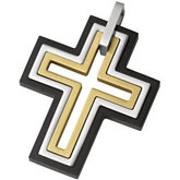 Stainless Steel Cross Pendant with Black and Gold Immerse Plating
