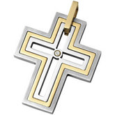 Stainless Steel & 14kt Yellow Cross Pendant with Diamond & Immerse Plating