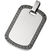 Stainless Steel Greek Key Dog Tag Pendant
