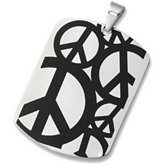Stainless Steel Peace Sign Dog Tag Pendant