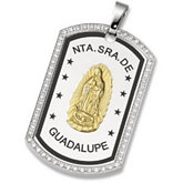 Joyas Alternativas™ Stainless Steel Guadalupe Dog Tag Pendant with CZ's