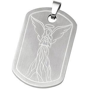 Joyas Alternativas™ Stainless Steel Reversible Serenity Prayer Dog Tag Pendant