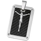 Joyas Alternativas™ Crucifix Dog Tag Pendant with Black Carbon Fiber Center