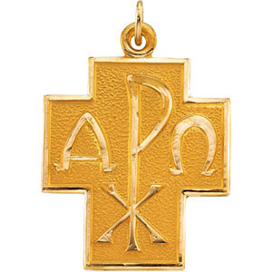 14kt Yellow 24.5x22mm Alpha Omega/Chi-Rho Cross