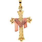 Two-Tone Cross Pendant with Robe