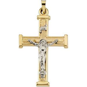 Two-Tone Hollow Crucifix Pendant