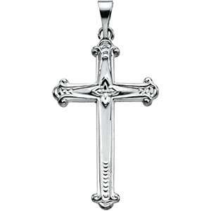 14K White 25x16mm Cross Pendant