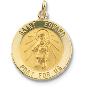 14K Yellow 18.25mm Round St. Edward Medal