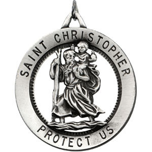 Sterling Silver 32.5mm St. Christopher Medal