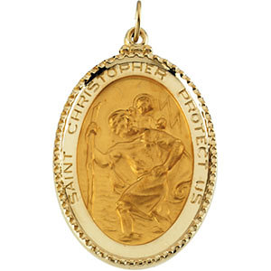Myriams Boutique 14kt Yellow 39x26mm St. Christopher Medal