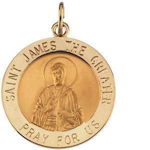14K Yellow 18.5mm St. James Medal