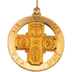 14kt Yellow 32.5mm St. Christopher Four-Way Medal