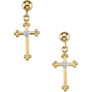 Diamond Cross Ball Dangle Earring