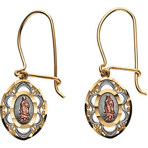 14K Yellow & Rose 12.5x9.75mm Tri-color Oval Our Lady of Guadalupe Earrings