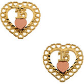 Two Tone 15th Birthday Heart Earrings