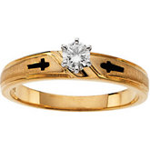 Cross Design Engagement Ring & Ladies and Men's Bands