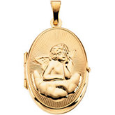 Oval Locket with Angel