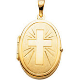 Oval Locket with Cross