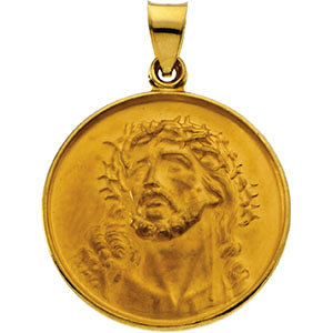 18kt Yellow 24.5mm Face of Jesus (Ecce Homo) Medal