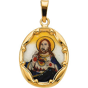 Sacred Heart of Jesus Hand-Painted Porcelain Pendant