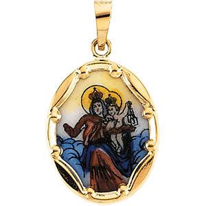 Hand-Painted Porcelain Scapular Medal