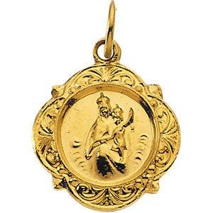 13K Yellow 12.14x12.09mm Scapular Medal