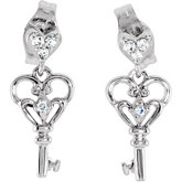 Youth Dangle Key Diamond Earrings with Backs