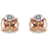 Youth Ladybug Diamond Earrings with Backs