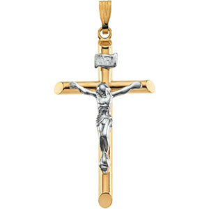 Two-Tone Hollow Crucifix Pendant
