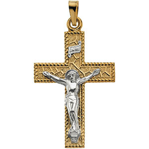 Two-Tone Crucifix Pendant