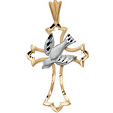 Two Tone Dove & Cross Pendant