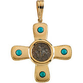 Turquoise Cross Pendant with Widow's Mite Coin