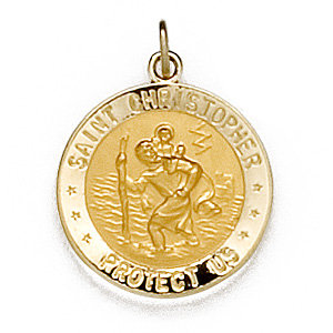 14kt Yellow 18mm St. Christopher Medal/US Navy Medal
